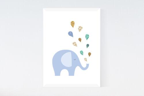 Cute Elephant Modern Nursery Print Rain Drops Baby Wall Art Decor Picture Poster