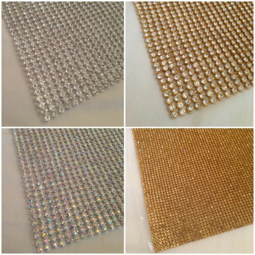 Aufbügeln Chaton Streifen Strass Silber Regenbogen Kristall /& Gold IN Div Gr.