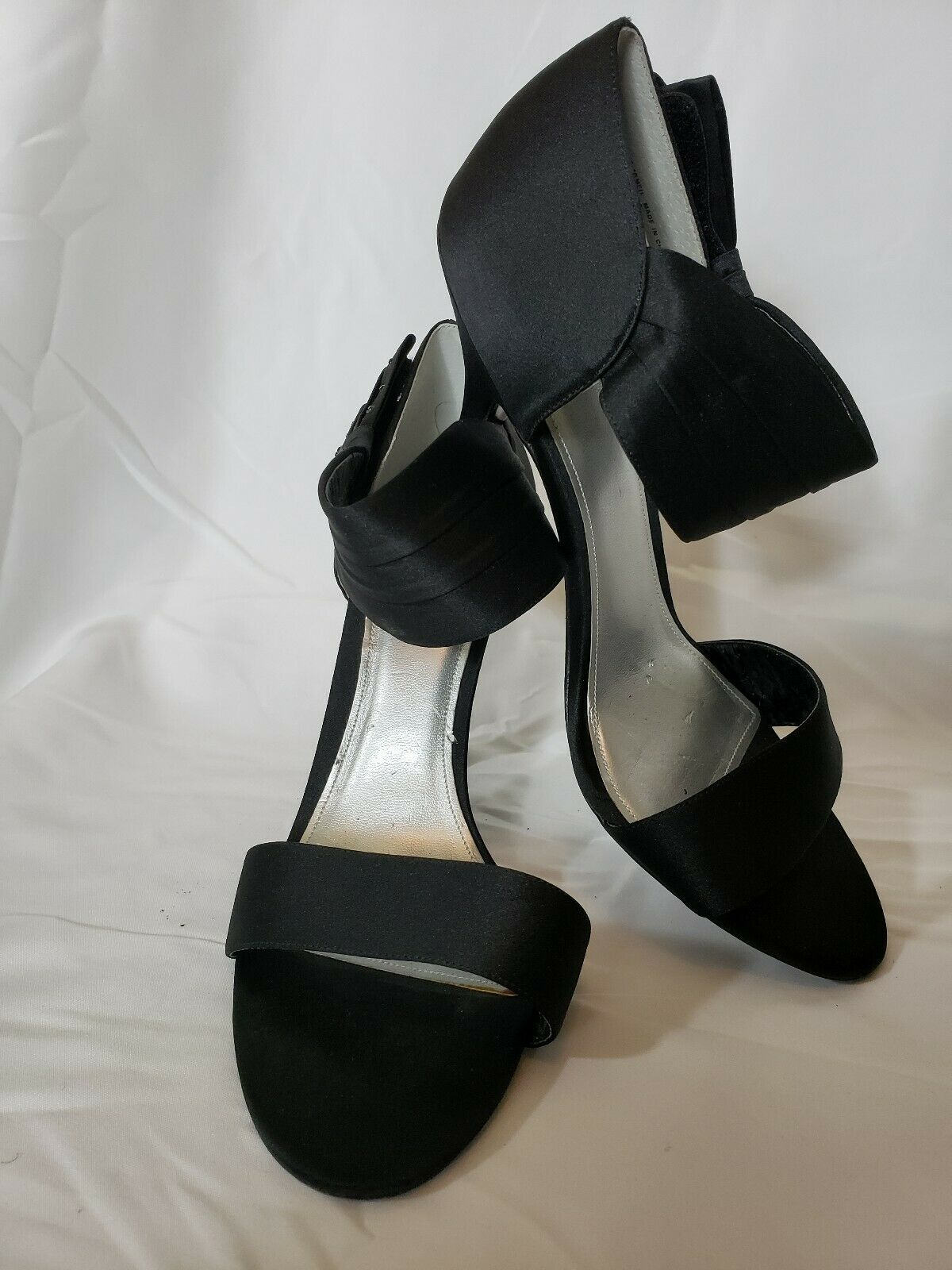 APT 9 Womens Black Satin heels Pumps Big Bow Rhinestone sz 10M Wedding Shoes