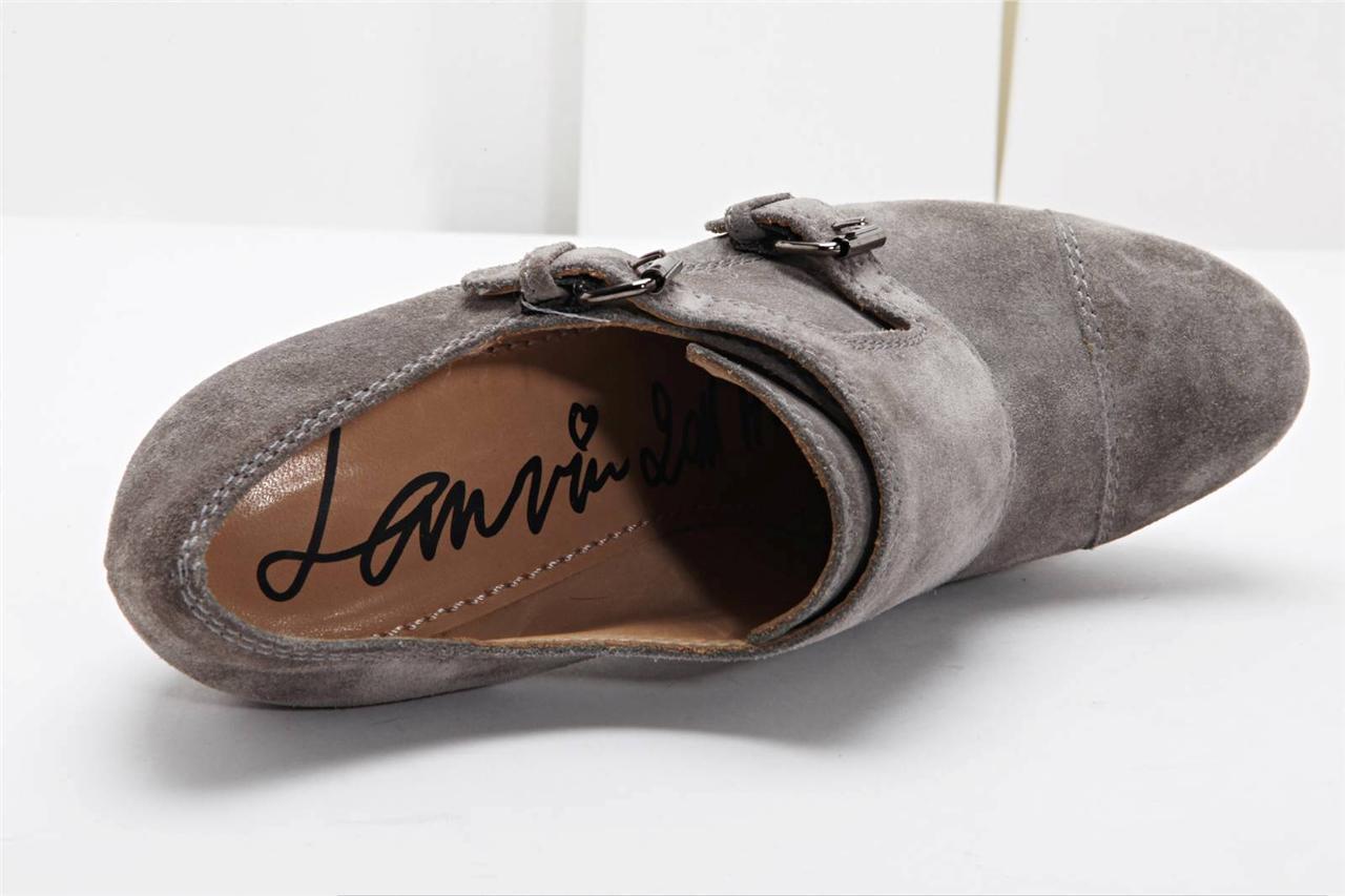 Lanvin gris ante Hebilla Botín 8.5-38.5 Tacón Alto Zapato Zapatilla 8.5-38.5 Botín Nuevo 7297a3