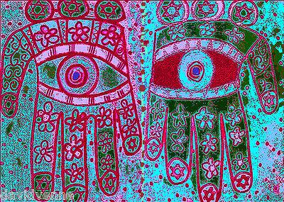 Sandra Silberzweig Hamsa Evil Eye Protection Hand 8 X 10 on Flat 8.5 X 11 Canvas