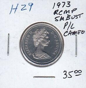 Canada 1973 UNC Nickel Quarter RCMP Small Bust Free Shipping in Canada.