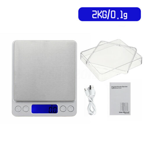 USB Charging LCD Digital Scale 0.01g Electronic Balance Weight Kitchen 2xTray