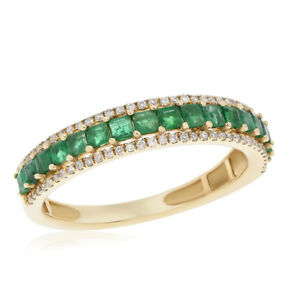 Emerald Wedding Band.Details About 14k Yellow Gold Diamond Princess Cut Green Emerald Wedding Band Stack Ring