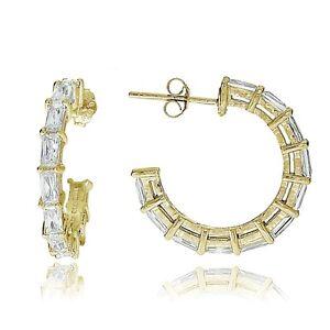 Gold-Tone-over-Sterling-Silver-Baguette-Cubic-Zirconia-Half-Hoop-Earrings