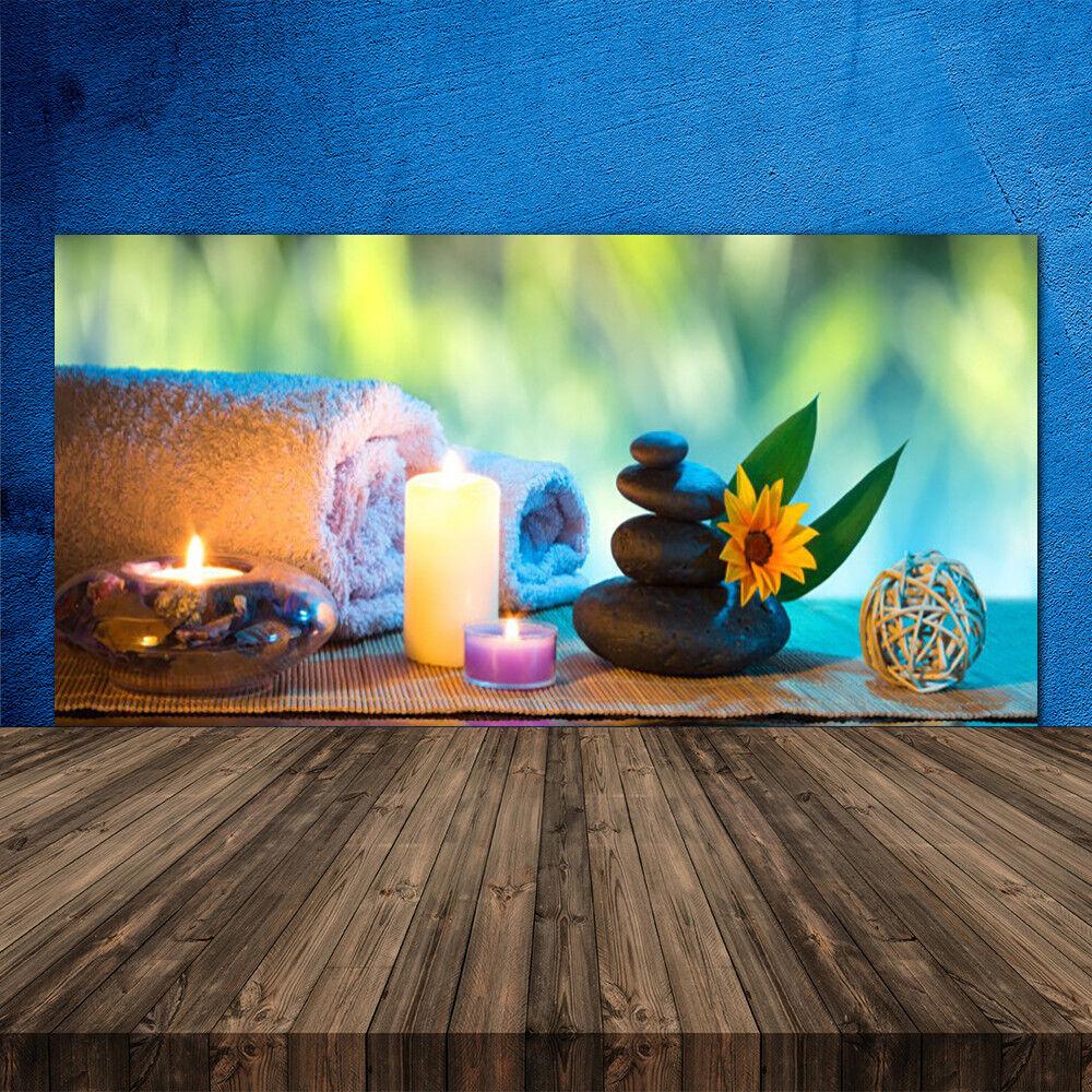 Crédence de cuisine en verre Panneau 120x60 Art Serviette De Fleurs Bougies