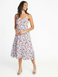 94a6da51af8c Old Navy Cami Sun Dress S FIT & FLARE White Rayon Floral Midi SMALL ...