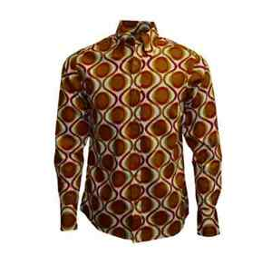 New-mens-Run-amp-Fly-retro-vintage-style-60s-70s-mustard-red-yellow-pattern-shirt