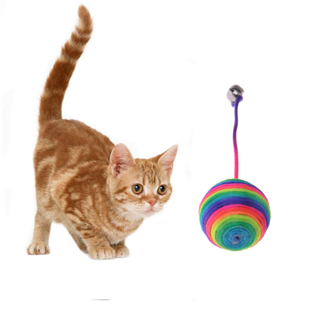 Funny Dog Cat Kitten Pet Teaser Sisal Rope Colorful Ball Play Chewing Catch Toy