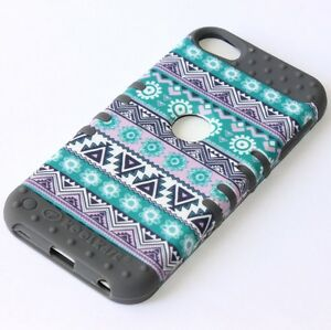 iPod-Touch-5th-6th-7th-Gen-HARD-amp-SOFT-RUBBER-HIGH-CASE-GREY-GREEN-AZTEC-FLOWERS