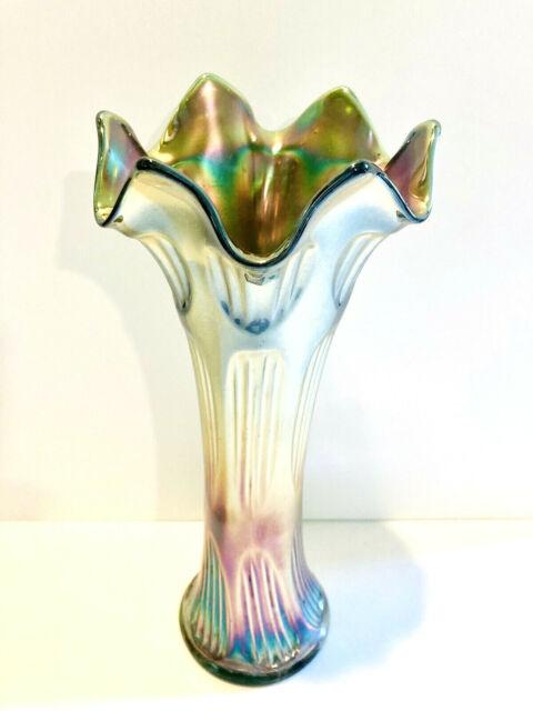 "Antique Fenton Green Carnival Art Glass Diamond & Rib Iridescent 10"" Swung Vase"