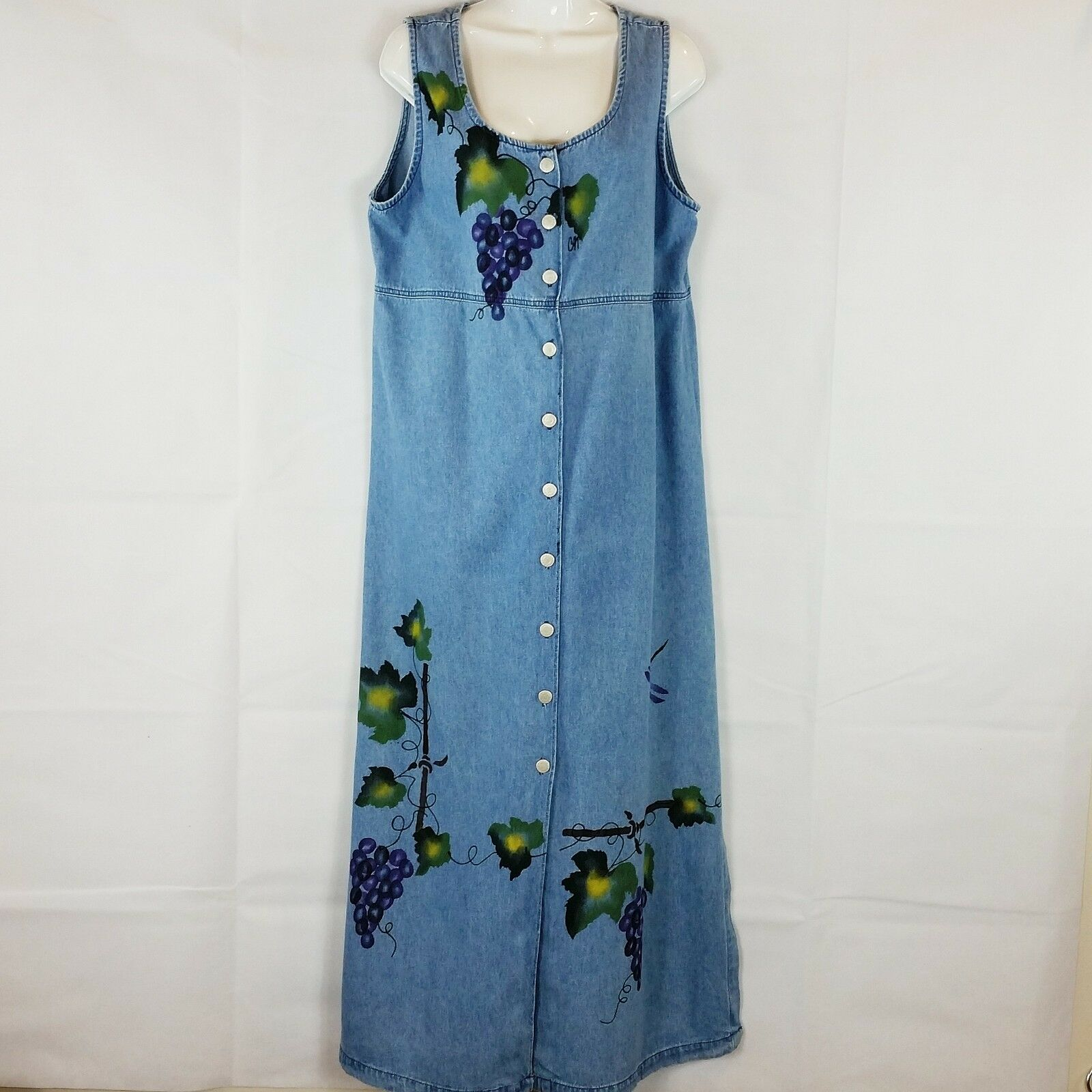 Vintage Apache damen Denim Jumper Dress Sz XL Blau Grapevines Hand Painted