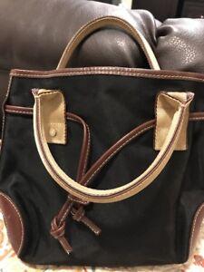 Image Is Loading Lancel Black Nylon Bag W Brown Leather Trim