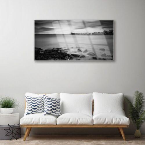 Glasbilder 100x50 Wandbild Druck auf Glas Meer Steine Landschaft