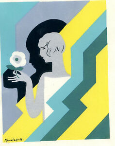 1930s-French-Pochoir-Print-Art-Deco-Young-Woman-Holding-White-Flower