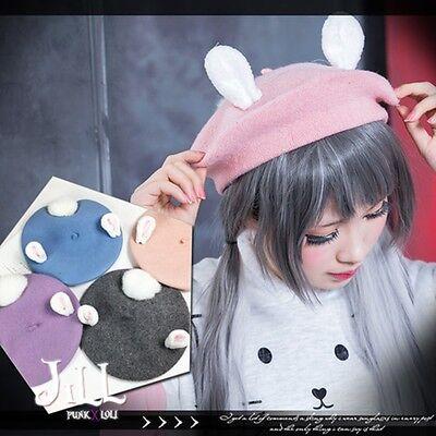 japan lolita cartoon Dutch mini rabbit bunny ear beret hat w/ tail【J1D6005】
