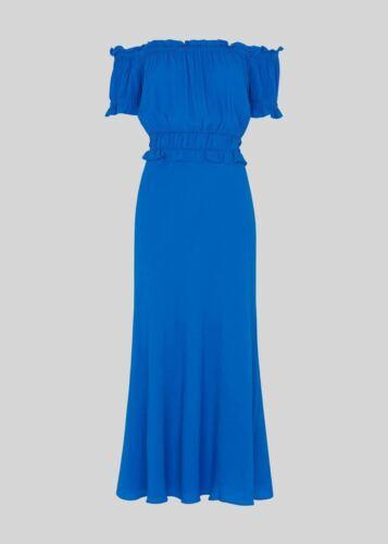 Whistles Floren a plissée BARDOT Peplum robe bleu cobalt UK10 RRP179 BNWT