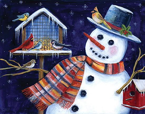 Marilyn Dunlap  Snow Friends Keilrahmen-Bild Leinwand Schneemann Winter Vögel