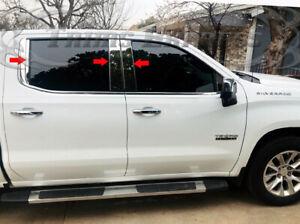 2019-Up-Chevy-Silverado-Sierra-Crew-Double-Cab-Stainless-Pillar-Post-Trim-6Pc
