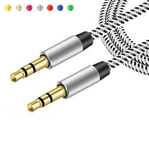 Braided-Headphone-Wire-Speaker-3-5mm-Jack-Audio-Cable-Car-Aux-Cord-Male-to-Male