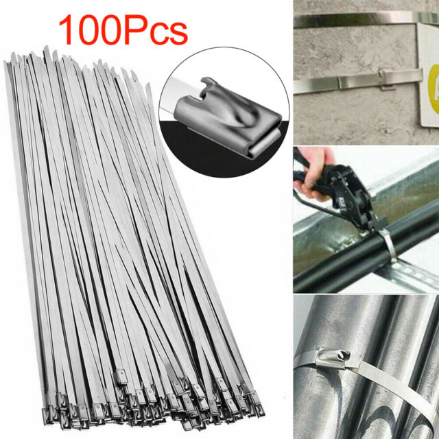 """100 GOLIATH INDUSTRIAL 12/"""" STAINLESS STEEL WIRE CABLE ZIP TIES STRAPS WHOLESALE"""