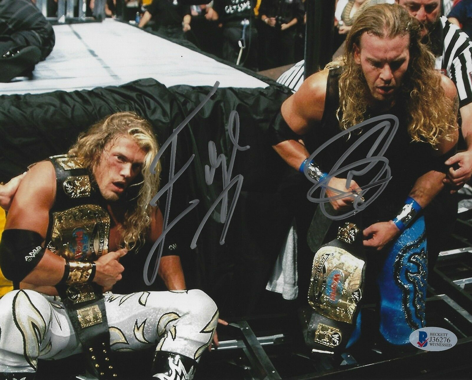 Edge & Christian Wwe Bas 8x10 foto firmada cert. de autenticidad Pro Wrestling Foto Autógrafo 3