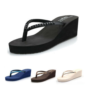 Ladies-Pinch-Flip-Flops-Platform-Wedge-Toe-Post-Beach-Thong-Sandals-Shoes