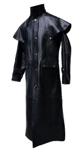 imprimé Trench en pour noir Matrix cuir Steampunk hommes Trench Steampunk crocodile Manteau q1W0ZS