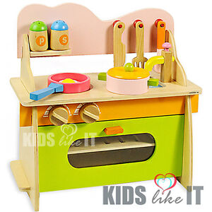 new kids pink green wooden pretend play toy kitchen portable table cooking set ebay. Black Bedroom Furniture Sets. Home Design Ideas