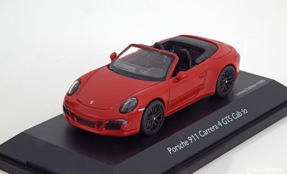 PORSCHE 911 991 CARRERA 4 GTS CABRIOLET INDIGO RED SCHUCO 07586 1 43 red red