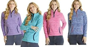 Weirdfish Ladies Womens Nancy 1//4 Zip Melange Fleece Sweatshirt Teal Blue