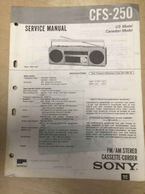 Sony Service Manual For The Cfs