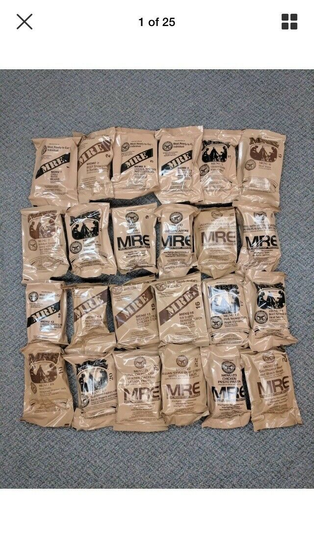 MREs (Meals Ready-to-Eat) Genuine U.S. Military Surplus  (3 Meals). Inspect 6 18  100% brand new with original quality