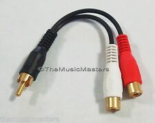 "Premium RCA Audio ""Y"" Cable Adapter HQ Splitter 1 Male to 2 Female Jacks VWLTW"