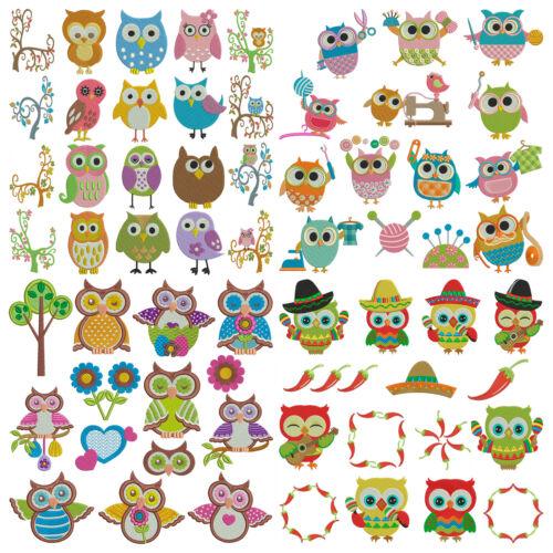 Machine Embroidery Patterns 4 Sets 63 Designs BUNDLE PACK 14 OWLS
