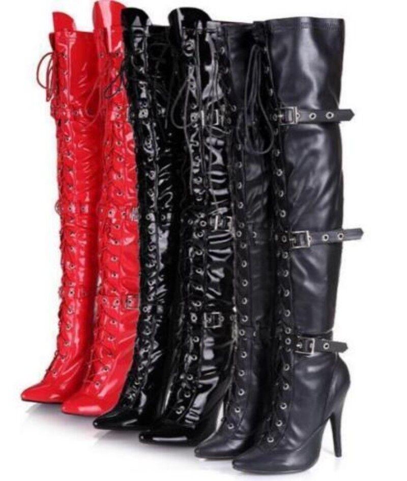 Le donne con fibbia e e e lacci tacchi alti sopra il ginocchio coscia stivali gamba slim più taglie C53 149d8c