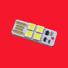 2PCS 4LED Night Light Card Lamp Keychain White Pocket Mini USB Touch switch 4LED