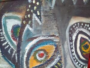 Art Brut Street Art signé grand tableau aux personnages fantastiques