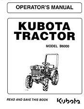 Kubota Tractor B6000 Operators Maintenance Manual Diesel Engine