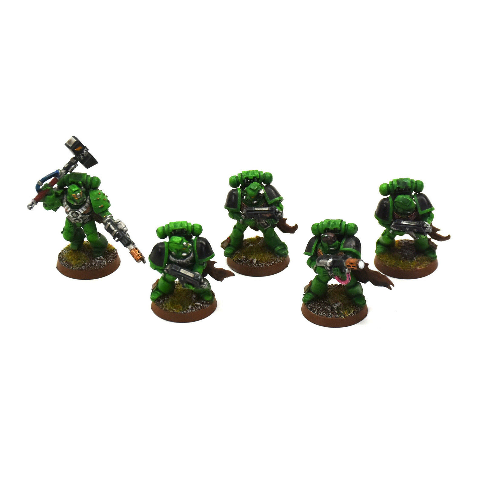 SPACE MARINES 5 tactical marines Congreened Salamanders PRO PAINTED Squad 40K