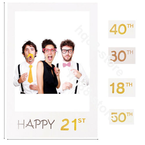 18/21/30/40/50th Frame Photo Booth Props Happy Birthday Selfie Party Decoration