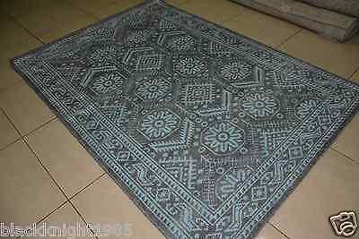 Indian Hand Knotted Low Pile Modern Wool Viscose Art Silk Carpet Area Rug Hali
