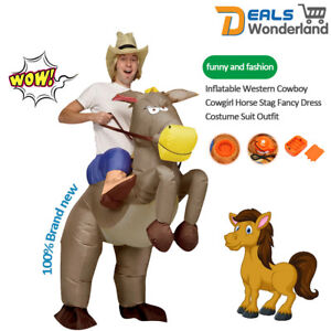 Inflatable Western Cowboy Cowgirl Horse Stag Fancy Dress Costume Suit Outfit
