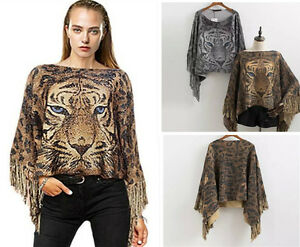 Women-039-s-Loose-Jumpers-Loose-Sleeve-Scarf-Bat-Wing-Sweater-Tiger-Print-Tops-BNWT