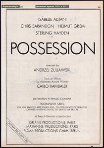 POSSESSION__Original 1980 Trade AD / poster__ISABELLE ADJANI__ANDRZEJ ZULAWSKI