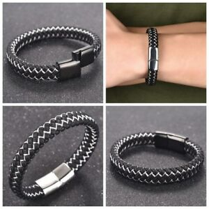 Men-039-s-Fashion-Braided-Leather-Bracelet-Bangle-Stainless-Steel-Magnetic-Jewelry