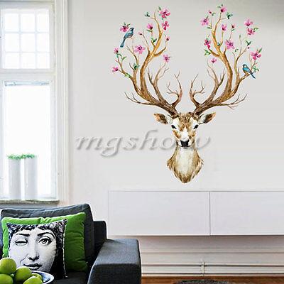 Removable Wall Sticker Sika Deer Flower Bird Tree Animal Mural Decal Home DIY