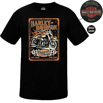 Harley Davidson Mens Race Label Black T-Shirt Limited Edition Swansea