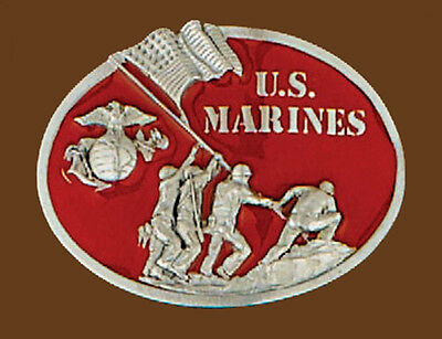 NEW U.S Marine Belt Buckle Red Enamel Pewter Flag Design 3 x 2-1//4 made n USA