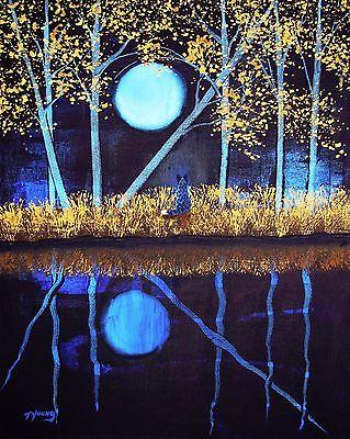 AUSTRALIAN CATTLE Dog Blue Heeler Moon Folk Art PRINT Todd Young AUTUMN MOON